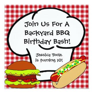 Invitación del cumpleaños del Bbq del patio