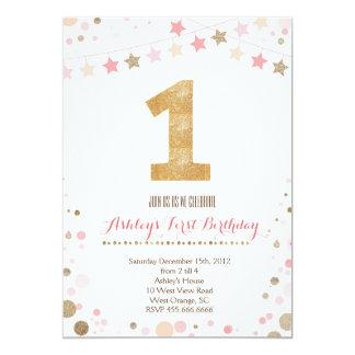 Invitación del cumpleaños del brillo del oro