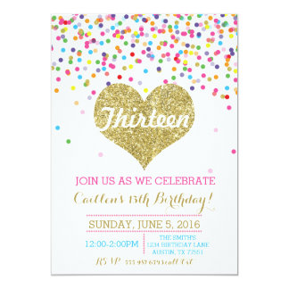 Invitación del cumpleaños del brillo del oro del