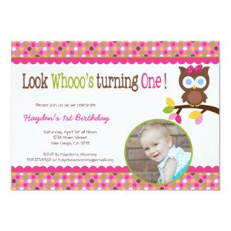 Invitación del cumpleaños del búho de la MOD 1ra -