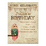 Invitación del cumpleaños del búho de Rosa