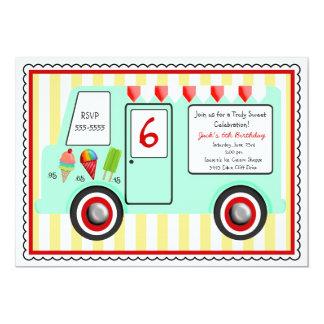 Invitación del cumpleaños del camión del helado