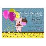 invitación del cumpleaños del cerdo del dibujo ani