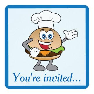 Invitación del cumpleaños del cheeseburger invitación 13,3 cm x 13,3cm