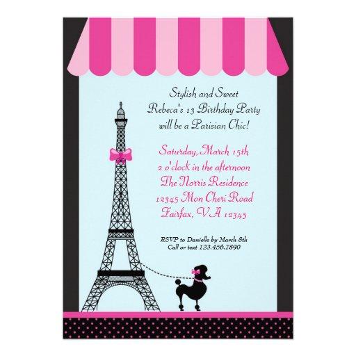 Invitación del cumpleaños del chica de la torre Ei