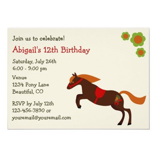 Invitación del cumpleaños del chica de los potros