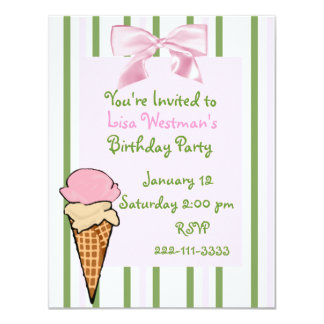 Invitación del cumpleaños del chica del cono de