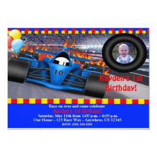 Invitación del cumpleaños del coche de carreras invitación 12,7 x 17,8 cm
