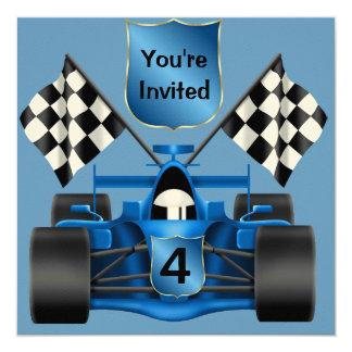 Invitación del cumpleaños del coche de carreras invitación 13,3 cm x 13,3cm