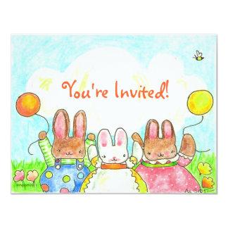 invitación del cumpleaños del conejito del globo
