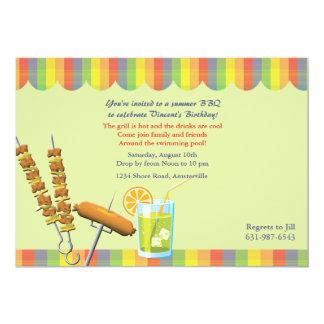 Invitación del cumpleaños del Cookout del verano