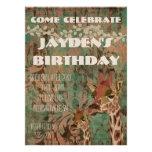 Invitación del cumpleaños del damasco de las jiraf