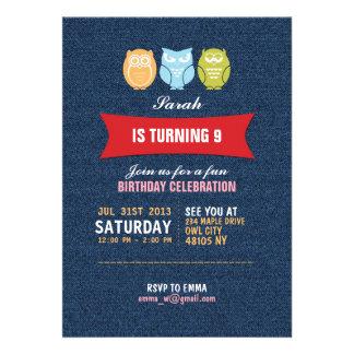 Invitación del cumpleaños del dibujo animado del b