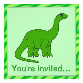Invitación del cumpleaños del dinosaurio: invitación 13,3 cm x 13,3cm