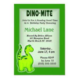 Invitación del cumpleaños del dinosaurio invitación 12,7 x 17,8 cm