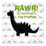Invitación del cumpleaños del dinosaurio de la sil