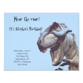 Invitación del cumpleaños del dinosaurio de T-Rex Invitación 10,8 X 13,9 Cm