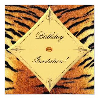 """¡Invitación del cumpleaños del diseño del tigre! Invitación 5.25"""" X 5.25"""""""