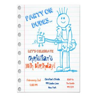 Invitación del cumpleaños del Doodle de la