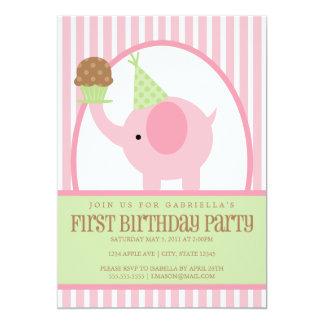 invitación del cumpleaños del elefante rosado 5x7 invitación 12,7 x 17,8 cm