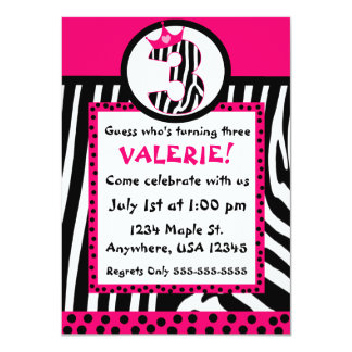 Invitación del cumpleaños del estampado de zebra y invitación 11,4 x 15,8 cm