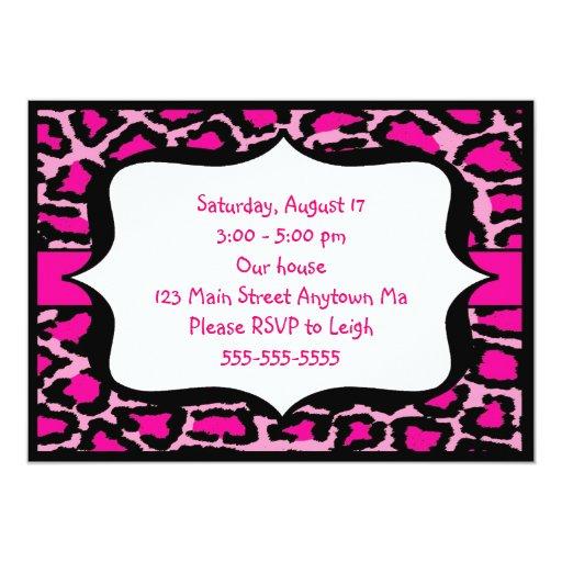 Invitación del cumpleaños del estampado leopardo invitación 12,7 x 17,8 cm