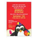Invitación del cumpleaños del fiesta de la playa invitación 12,7 x 17,8 cm