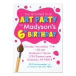 Invitación del cumpleaños del fiesta del arte 6ta invitación 12,7 x 17,8 cm