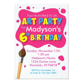 Invitación del cumpleaños del fiesta del arte 6ta