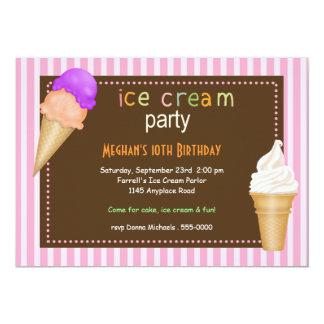 Invitación del cumpleaños del fiesta del helado