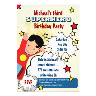 Invitación del cumpleaños del fiesta del super hér