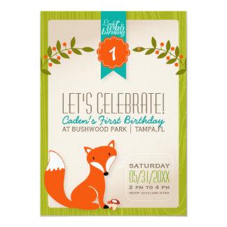 Invitación del cumpleaños del Fox del arbolado Invitación 12,7 X 17,8 Cm