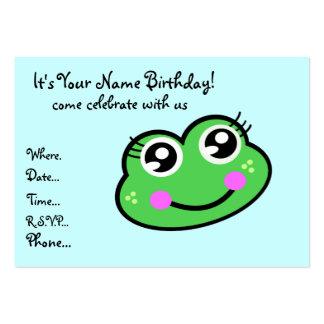 Invitación del cumpleaños del Froggy Tarjetas De Visita Grandes