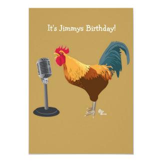 Invitación del cumpleaños del gallo invitación 12,7 x 17,8 cm