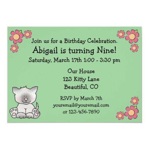 Invitación del cumpleaños del gato del gatito para invitación 12,7 x 17,8 cm