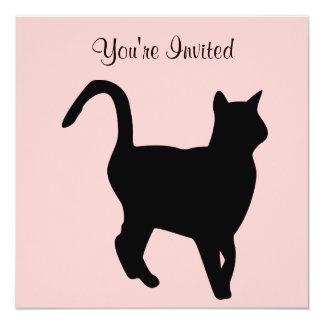 Invitación del cumpleaños del gato negro