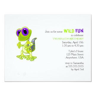 Invitación del cumpleaños del Gecko de la verde