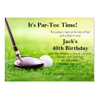 Invitación del cumpleaños del golf del hombre