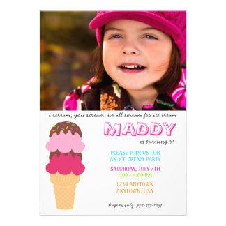 Invitación del cumpleaños del helado con la foto