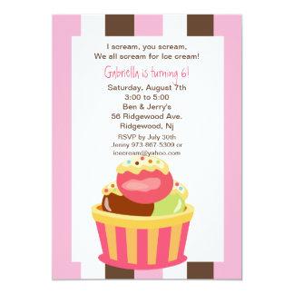 Invitación del cumpleaños del helado del helado de