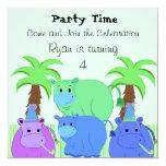 Invitación del cumpleaños del hipopótamo de la