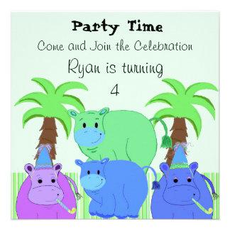 Invitación del cumpleaños del hipopótamo de la sel