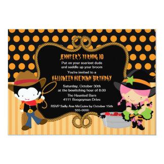 Invitación del cumpleaños del Hoedown de Halloween