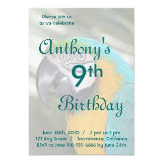 Invitación del cumpleaños del loro del Macaw del Invitación 12,7 X 17,8 Cm