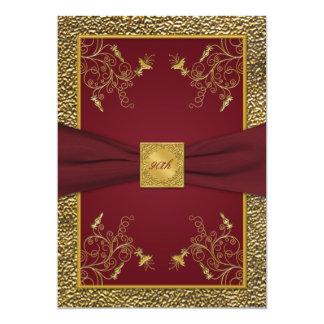 Invitación del cumpleaños del medallón del vino y invitación 12,7 x 17,8 cm
