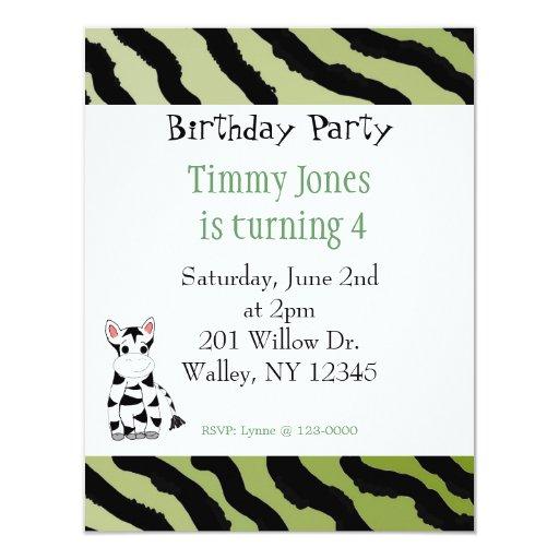 Invitación del cumpleaños del modelo de la cebra