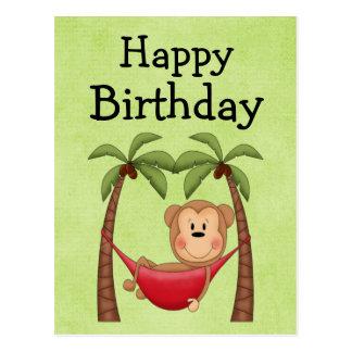Invitación del cumpleaños del mono de la hamaca postales