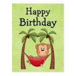 Invitación del cumpleaños del mono de la hamaca tarjeta postal