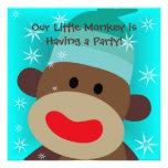 Invitación del cumpleaños del mono del calcetín de