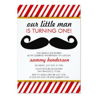 Invitación del cumpleaños del muchacho del bigote invitación 12,7 x 17,8 cm